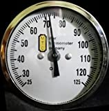 2'' Dial Commercial 304 Stainless Steel Bimetal Thermometer 9'' Stem 25-125 F Range