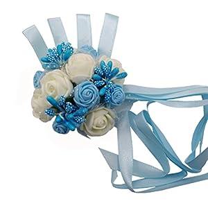 Arlai 1 pcs Blue Brides Wrist Corsage Bridesmaid Wedding Decorative Flower Artificial Dance Hand Flower 17