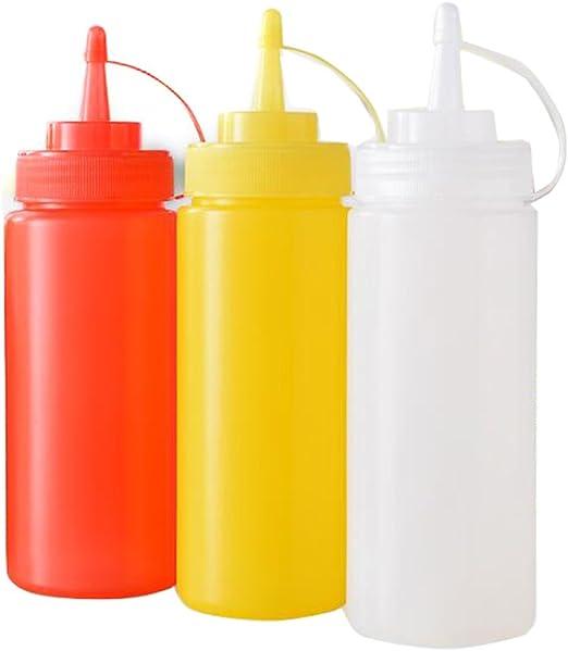 3 botellas de plástico para salsas, para apretar. Recipientes para ketchup, mostaza y aliños.: Amazon.es: Hogar