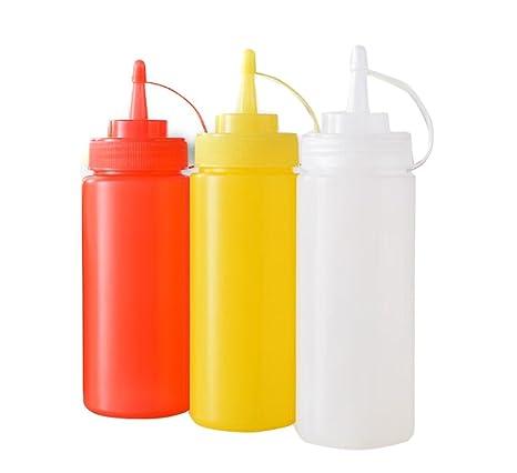 3 botellas de plástico para salsas, para apretar. Recipientes para ketchup,
