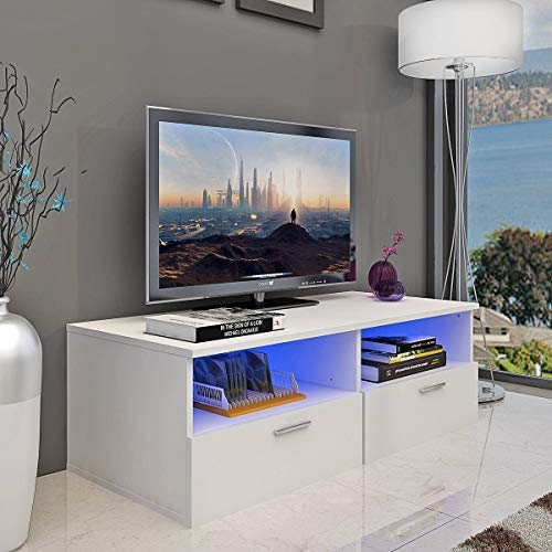 - Goujxcy LED TV Cabinet - Nordic Style TV Stand with Contemporary TV Entertainment Center, for Living Room Storage Furniture with LED Shelf and Drawers
