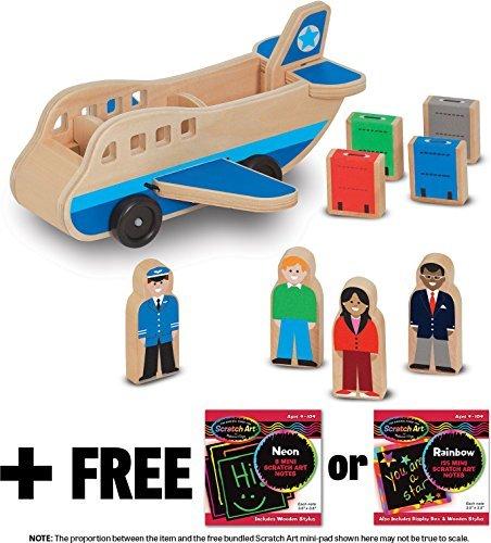 Melissa & Doug Wooden Airplane Classic Toy + FREE Scratch Art Mini-Pad Bundle [93941]
