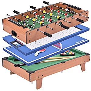 Giantex 4 In 1 Multi Game Table Pool Air Hockey Foosball Table Tennis  Billiard Combination Game