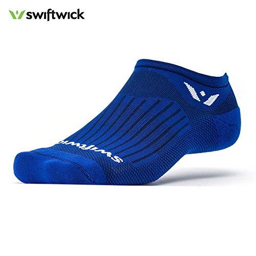 Swiftwick - ASPIRE ZERO, No-Show Socks for Running, Cobalt Blue, (Contour Golf Shoes)