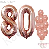 old birthday - Rose Gold 80 Number Balloons - Large, 8 and 0 Mylar Rose Gold Balloons, 40 Inch   Extra Pack of 10 Latex Baloons, 12 Inch   Great 80th Birthday Party Decorations  80 Year Old Rose Gold Party Supplies