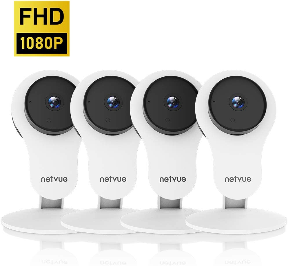 Security Camera – 1080P Indoor Camera, Smart Wireless Camera with Motion Detection AI Human Detection, Cloud Storage, 2-Way Audio, Night Vision, Indoor Pet Camera Alexa Compatible 4 Pack