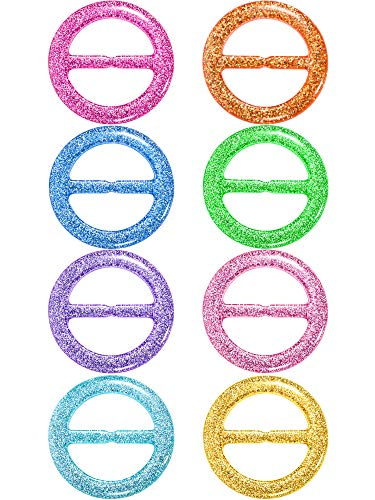 (8 Pieces 80's Party Plastic Fashion T Shirt Clips, T Shirt Scarf Clip Ring (Color A, Size A) )