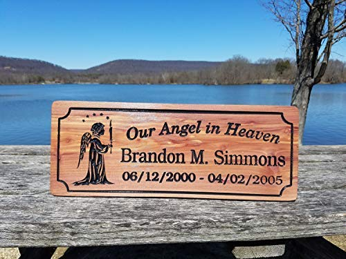 (Memorial Printed Plaque Personalized Printed Angel Holding Candle Image Our Angel in Heaven Name Birth Death Dates Cedar Plaque Hanging Sign Housewarming Gift)
