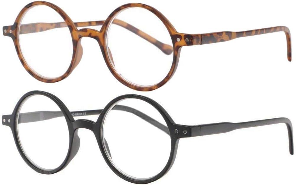 Lote de 2 gafas de lectura redondas vintage termoplásticas con bisagras de muelle Cerca (+1,5)