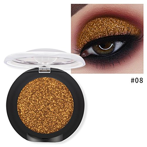 Poluck Women's Super Flash Single Eye Shadow 10 Metallic Colors Diamond Powder Palette Brick Sparkle Waterproof Long Lasting EyeShadow Cosmeticg EyeShadow Cosmetic - Metal Eye Shield
