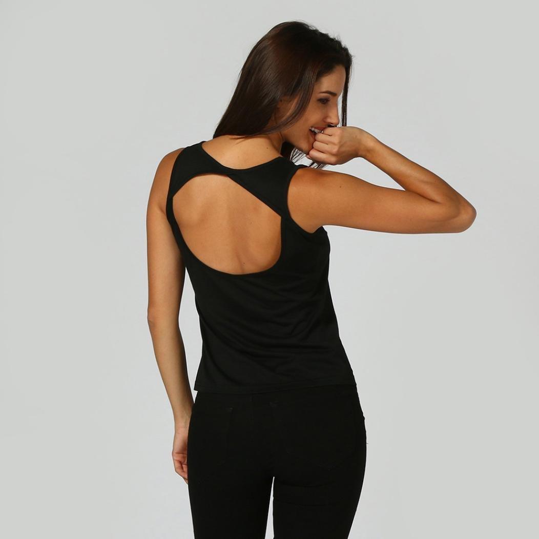 Mujer Camisetas, YUYOUG Casual Negro Mangas Backless Oeste: Amazon.es: Ropa y accesorios