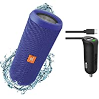 JBL Flip 3 Splashproof Portable Bluetooth Speaker & Car Charger Bundle (Blue)