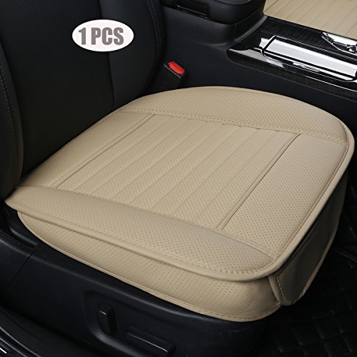 EDEALYN (1PCS) Car interior Seat Cover PU Leather Without backrest Front Seat Protection Car Seat Cover - Backless Seat Cover,Deep20 inch × Width20 inch × Thick 0.4 inch (Beige-3D) ()