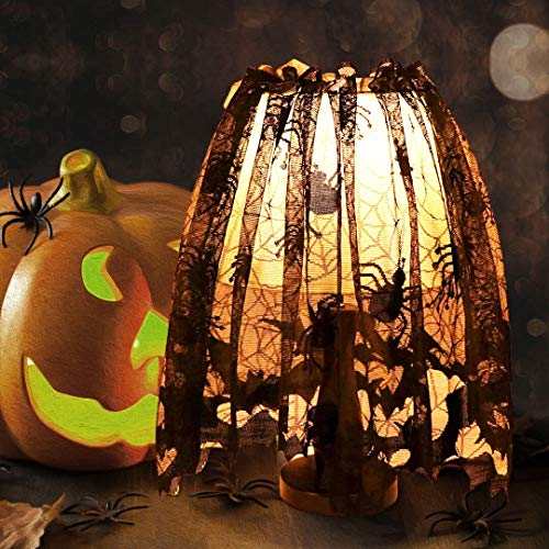 CHENGDAO Christmas Decorations Lamp Shade Cover Black Lace Multi-purpose Spiderweb Fireplace Mantle Scarf Window Curtain for Indoor Outdoor Decoration Party Supplies 20 X 60 inch]()