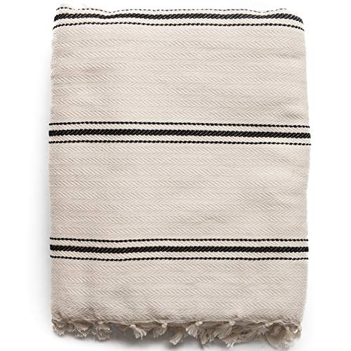 The Loomia Sophie 100% Turkish Cotton Boho Throw Blanket- Full-Size, Cream Base with Black Stripes (Best Cotton Throws)