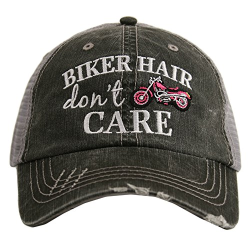 Tanning Care - Biker Hair Don't Care Women's Trucker Hat Cap by Katydid