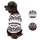 Blueberry Pet 2 Patterns Nordic Pattern Inspired Fair Isle Black and White Snowflakes Dog Sweater, Back Length 20'', Pack of 1 Clothes for Dogs
