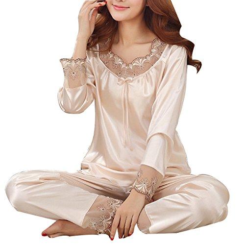 La Sra WS @ WX1023 Traje De Pijama De Seda Atractivo Beige