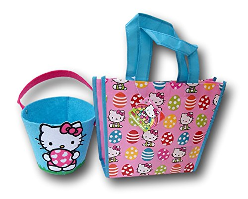 Hello-Kitty-Easter-Basket-Felt-Pail-and-Vinyl-Cute-Pink-Tote-Bag-Bundle