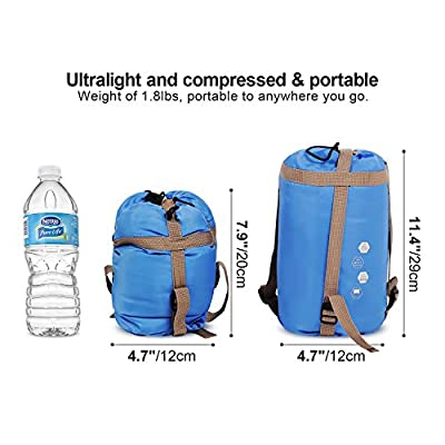 Ultra Lightweight Sleeping Bag For Backpacking, Comfort for Adults Warm Weather, with Compression Sack