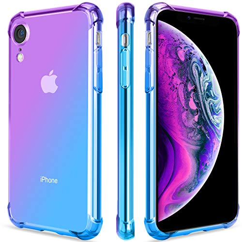 - Salawat for iPhone Xr Case, Clear iPhone Xr Case Cute Gradient Slim Anti Scratch TPU Phone Case Cover Reinforced Corners Shockproof Protective Case for iPhone Xr 6.1inch (Purple Blue)