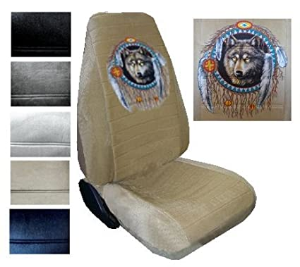Seat Cover Connection Native Wolf Dreamcatcher Print 2 High Back Bucket Car Truck SUV Covers