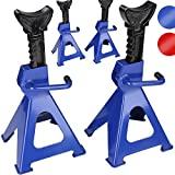 Timbertech Jack Stand 6 Ton Workshop Ratchet Axle Stands Foldable Car Holding Support (Blue, Set of 4) by Timbertech®