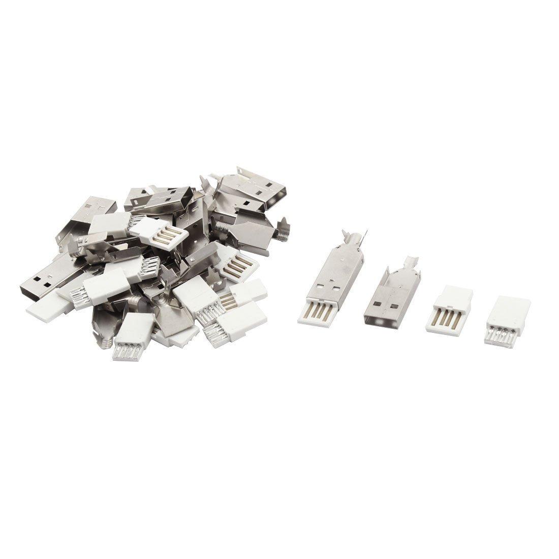 sourcingmap® 15 Set USB tipo A Jack maschio connettore adattatore per saldare il coperchio in metallo Kit riparazione sourcing map a16040900ux0167