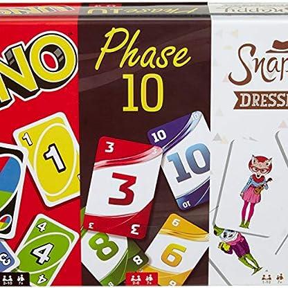 Mattel Games FFK01 - Kartenspiele Spielesammlung in Metalldose mit UNO, Phase 10, Snappy Dressers, Gesellschaftsspiele ab 7 Jahren 5