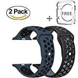 Watch Band 42mm, YooTek Soft Silicone Replacement Band with Quick Release for Apple Watch 3/2/1/Edition, 2 Pack with free iWatch screen Protector(Black/Gray + Blue/Black)
