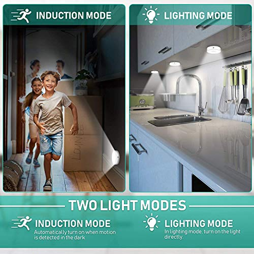 LED Nachtlicht mit Bewegungsmelder, 3 Stück Kaltes Weiß Auto EIN/AUS Nachtlicht mit Dämmerungssensor, Stick-On Nachtlicht Bewegungsmelder Batterie für Kinderzimmer Schlafzimmer Treppen Flur