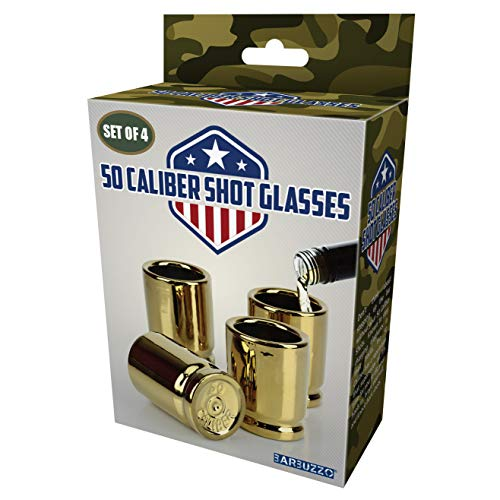Barbuzzo 50 Caliber Shot Glass - Set of 4 Shot Glasses Shaped like Bullet Casings - Step up to the Bar, Line 'Em Up, and Take Your Best Shot - Great Addition to the Mancave - Each Shot Holds 2-Ounces by Barbuzzo (Image #6)