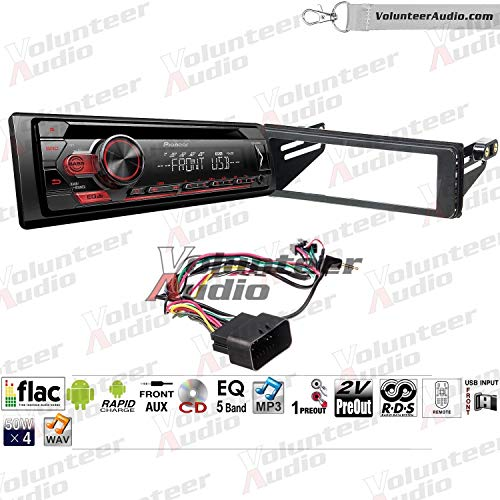 Tour Player - Volunteer Audio Pioneer DEH-S1100UB Single Din Radio Install Kit with CD Player, USB/AUX Fits 1998-2013 Electra Glide, Road Glide, Street Glide, and Tour Glide