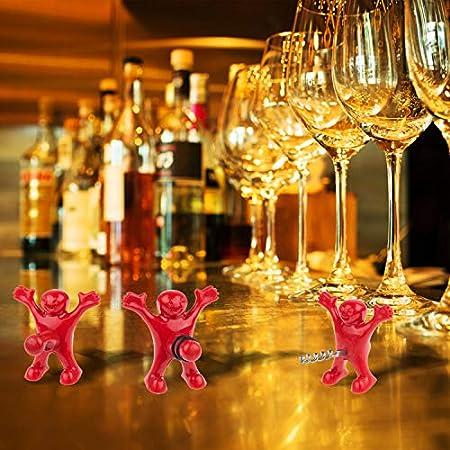 hombre rojo abridor, feliz hombre abridor botella, botella de cerveza opener, sacacorchos vino, tapón de la botella de vino, divertido y practico (Rojo-3)