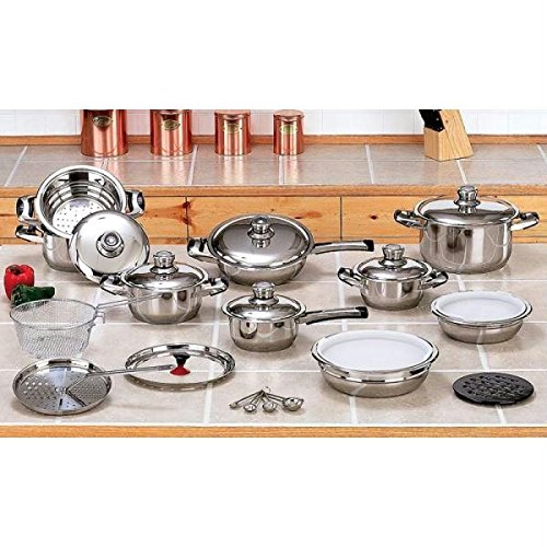 28pc 12-element High-quality Heavy-gauge Stainless Steel Cookware Set (Rena Ware compare prices)