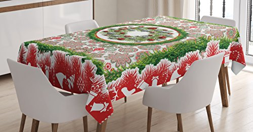 Ambesonne Christmas Tablecloth, Fir Tree Wreath with Vivid Bauble Figures Ornate Flowers Bells Presents Print, Dining Room Kitchen Rectangular Table Cover, 52 W X 70 L inches, Multicolor