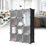 LANGRIA 12-Cube Utility Shoe Rack Organizer, Modular Storage Shoe Organizer, Free Standing Portable Multi Use Plastic Cabinet without Door Panels(Black and White)