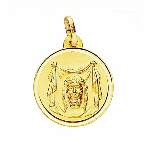 Médaille pendentif Santa Faz de l'or 18mm 18k. lunette lisse [AA2683GR] - personnalisable - ENREGISTREMENT inclus dans le prix