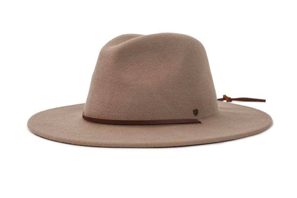61daa677d Galleon - Brixton Men's Field Wide Brim Felt Fedora Hat, Fawn, Medium