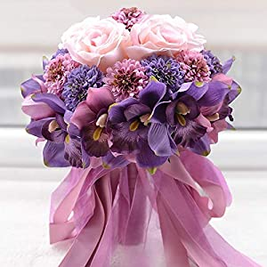 Hozhang Beautiful Purple Pink Color Bridal Bridesmaid Flower Wedding Bouquet Artificial Flower Rose Bridal Bouquets 93