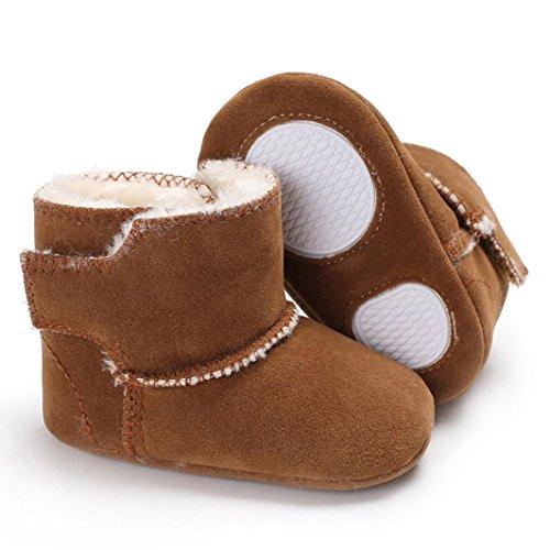 Upxiang Neugeborenes Baby Flauschige Schuhe Stiefel, Samt Schuhe Soft Sole Krippe Kleinkind Anti-Rutsch(0 ~ 18 Monat) Braun
