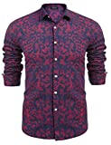COOFANDY Mens Fashion Print Casual Long Sleeve Button Down Shirt