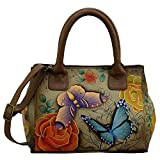Anuschka Anna Hand Painted Leather Women'S Small Convertible Tote, Floral Paradise Tan