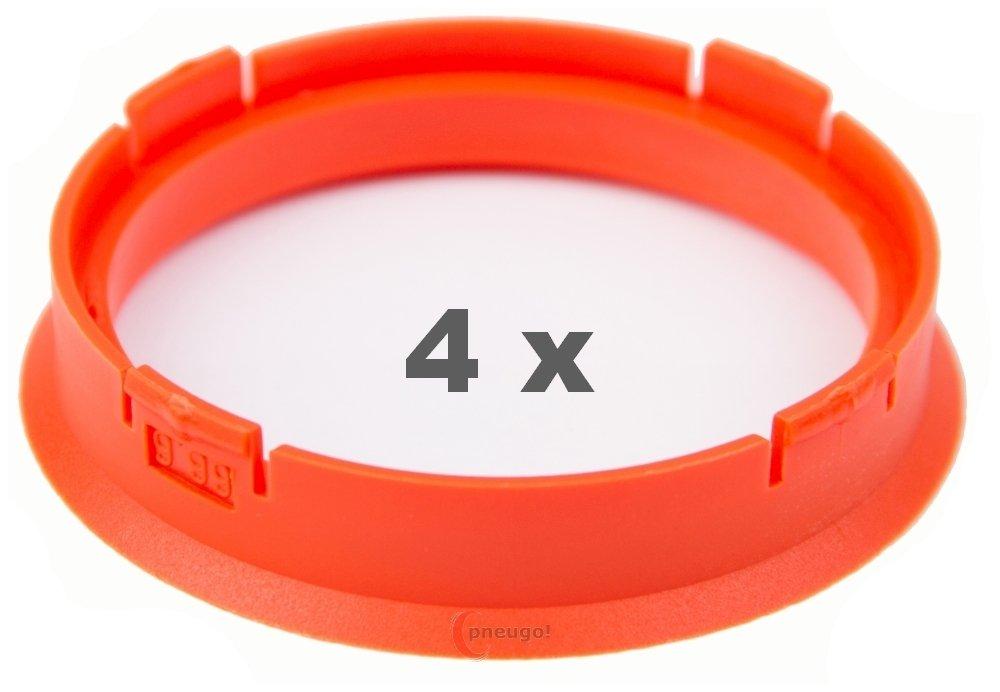 4 X Anello Di Centraggio 66.6 mm a 58.1 mm Arancione Pneugo