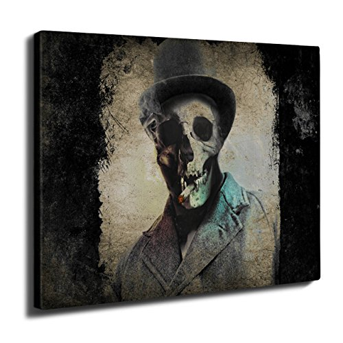 (wellcoda Smoking Skeleton Skull Street Wall Art Canvas 50cm x 30cm)