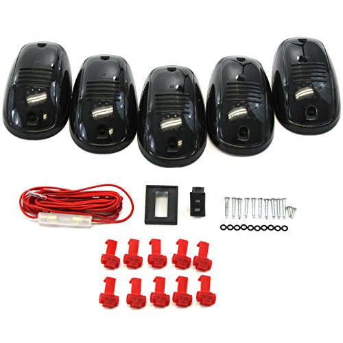 5 Piece Smoked Lens Amber LED Cab Roof Running Marker Light Set Compatible with Trucks SUVs RVs Off Road Complete Kit with Wiring Harness Switch & Hardware