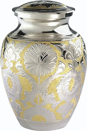 Amazon the urnconcern classic silver gold cremation urn 7 the urnconcern classic silver gold cremation urn 7 inch hand engraved solid brass with solutioingenieria Image collections