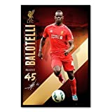 Liverpool FC Mario Balotelli Poster Cork Pin Memo Board Black Framed - 96.5 x 66 cms (Approx 38 x 26 inches)