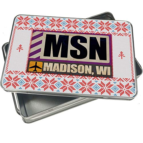 NEONBLOND Cookie Tin Box Airportcode MSN Madison, WI Vintage Christmas Pattern -