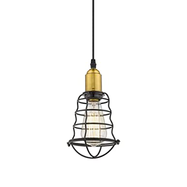 Jazava 1-Light Mini Pendant, Industrial Hanging Ceiling Light Fixture, Height Adjustable, Black Finish Shade with Antique Brass Accent